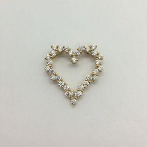 Jewelry - 14k Solid Yellow Gold Cubic Zirconia Heart Pendant